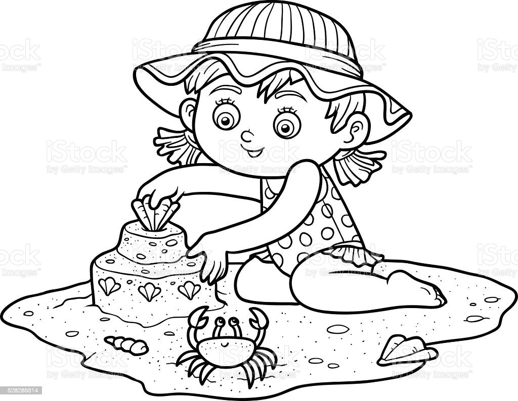 Coloring book for girl - Coloring Book For Children Little Girl On The Beach Royalty Free Stock Vector Art