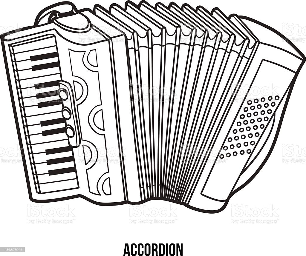 Coloring book for children: musical instruments (accordion) vector art illustration