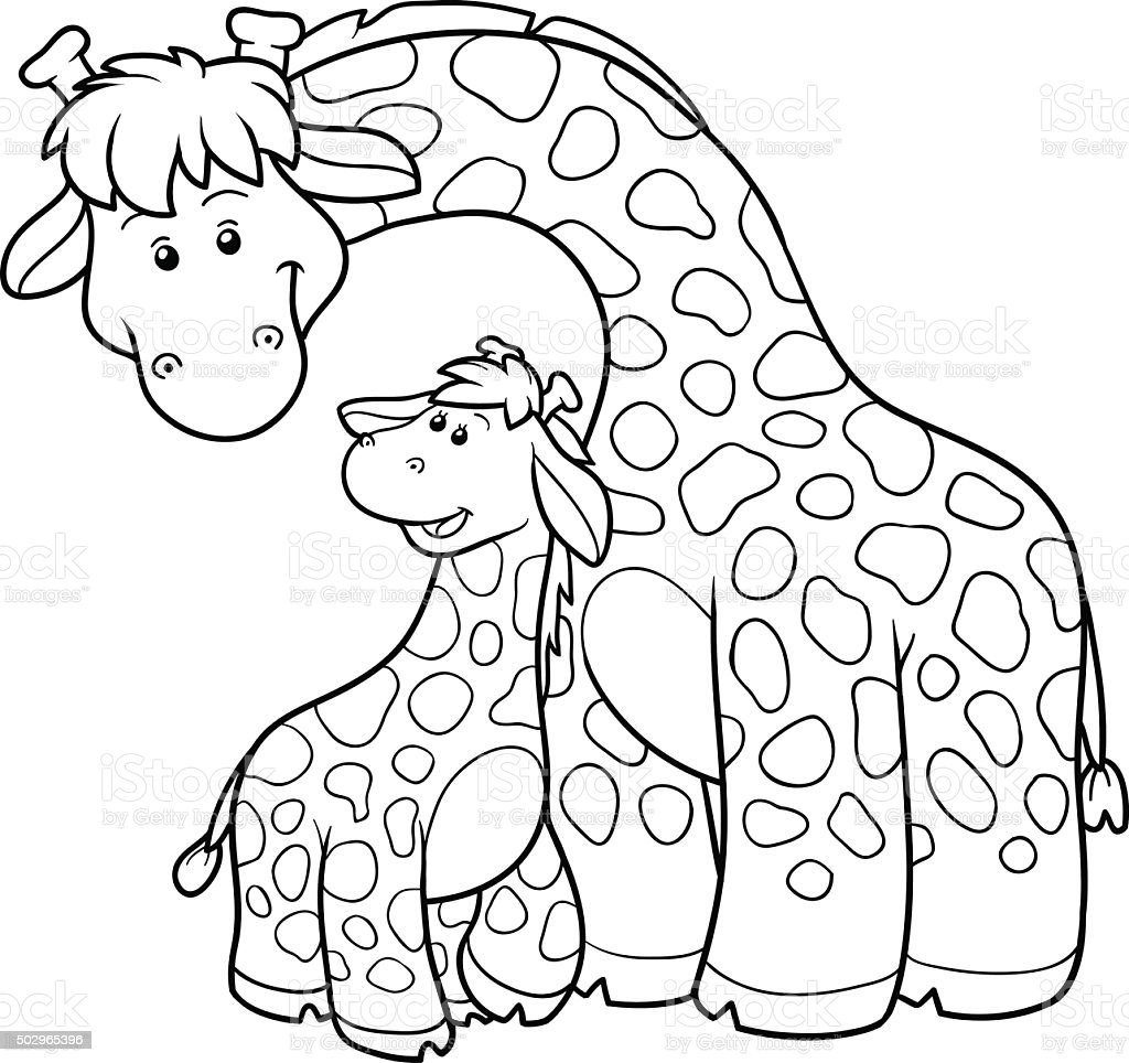 coloring book for children two giraffes royalty free stock vector art - Children Coloring Book