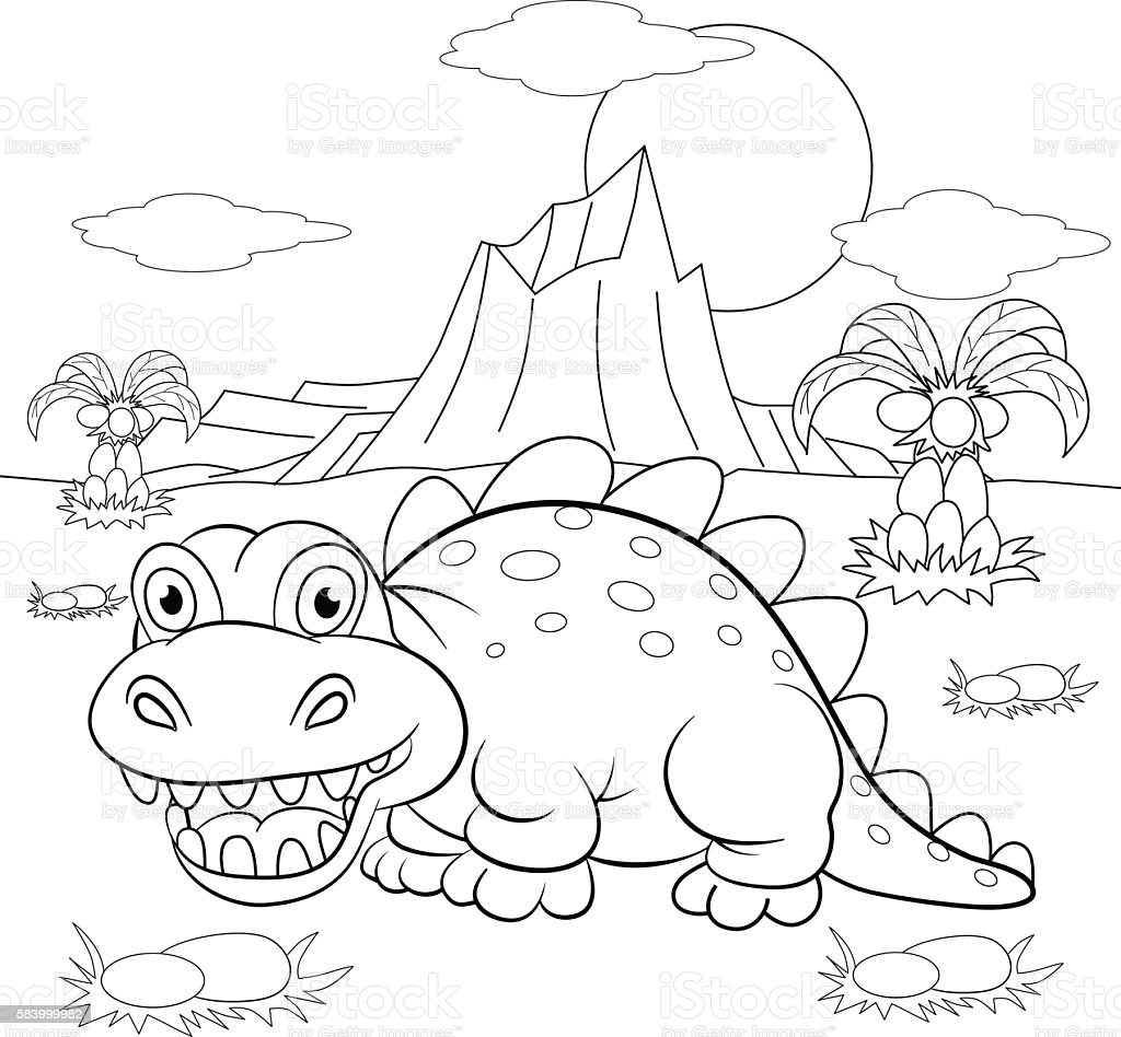 Coloring Book Funny Dinosaur In A Prehistoric Landscape