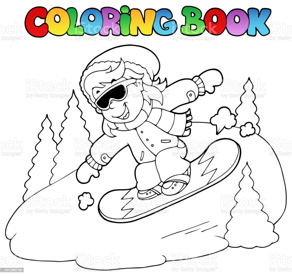 Coloring book girl on snowboard royalty-free stock vector art