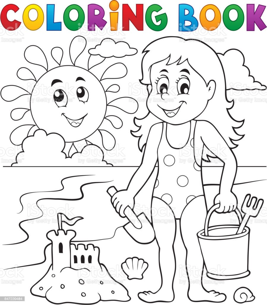 Coloring book girl playing on beach 1 vector art illustration