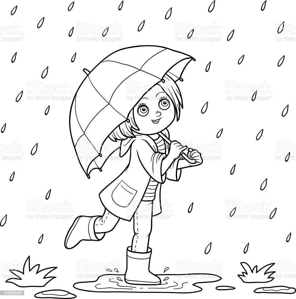 Livre de coloriage Fille courir avec un parapluie sous la pluie stock vecteur libres de