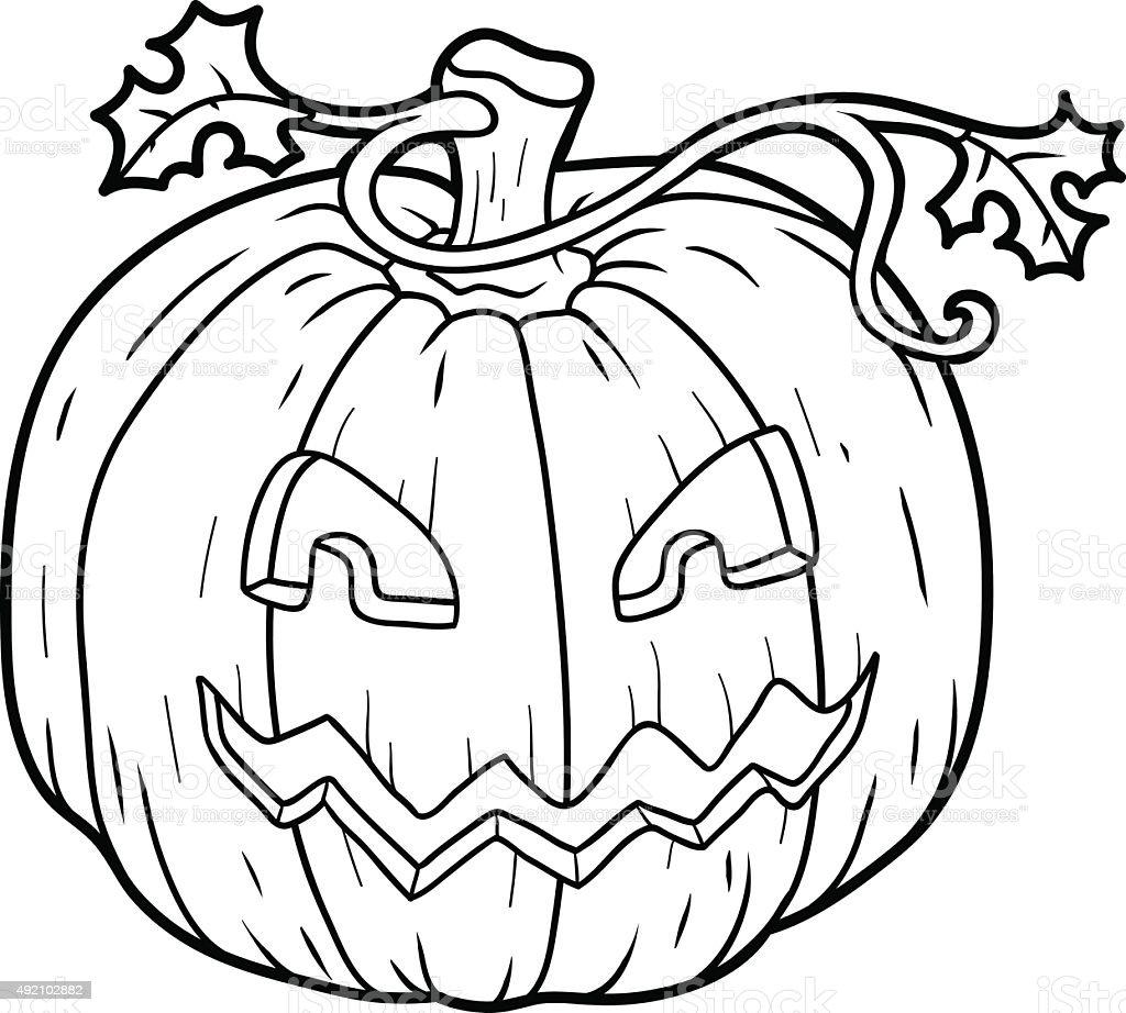 Calabazas Halloween Colorear. Perfect Sketch O Bosquejo De Una ...