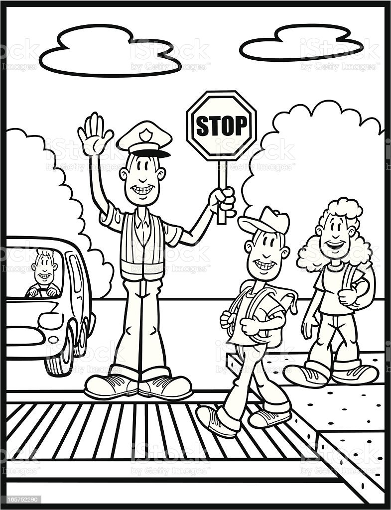 Line Drawing Of Zebra Crossing : Coloring book illustration of crossing guard and kids