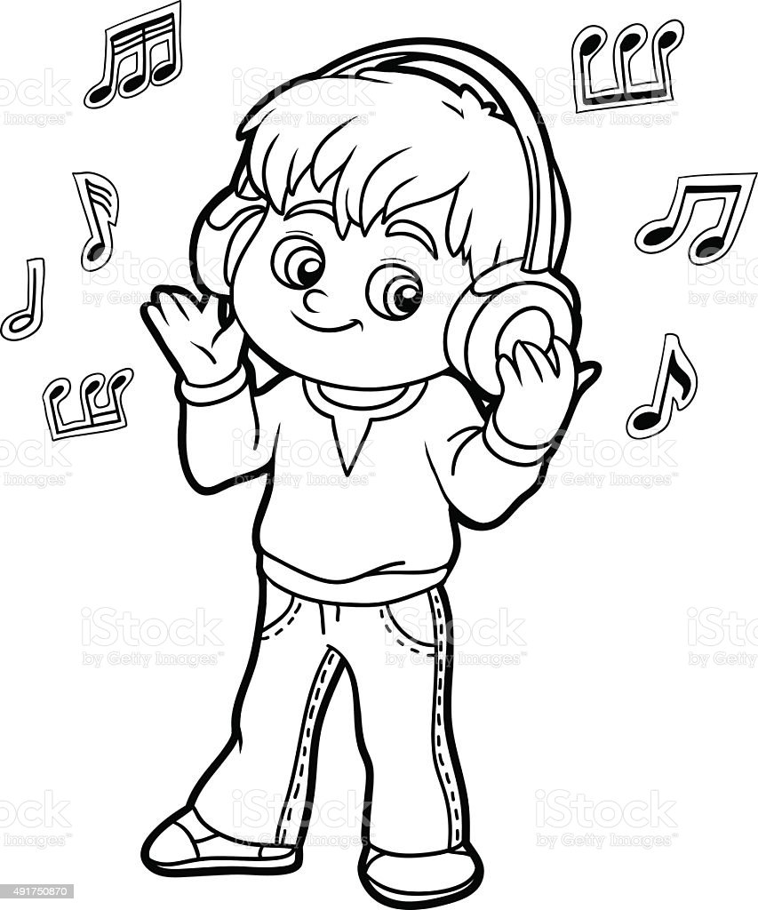 coloring book little boy listening to music on headphones stock