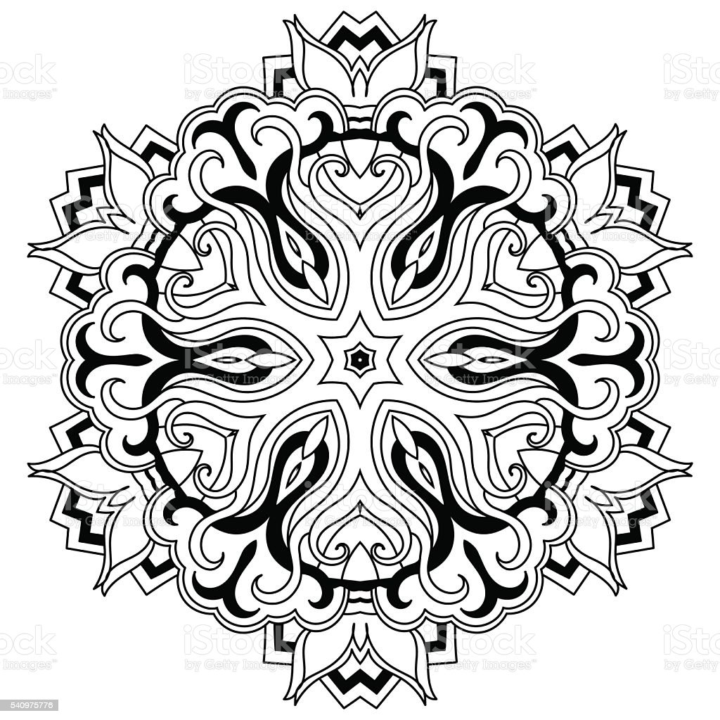 Coloring Book Mandala vector art illustration