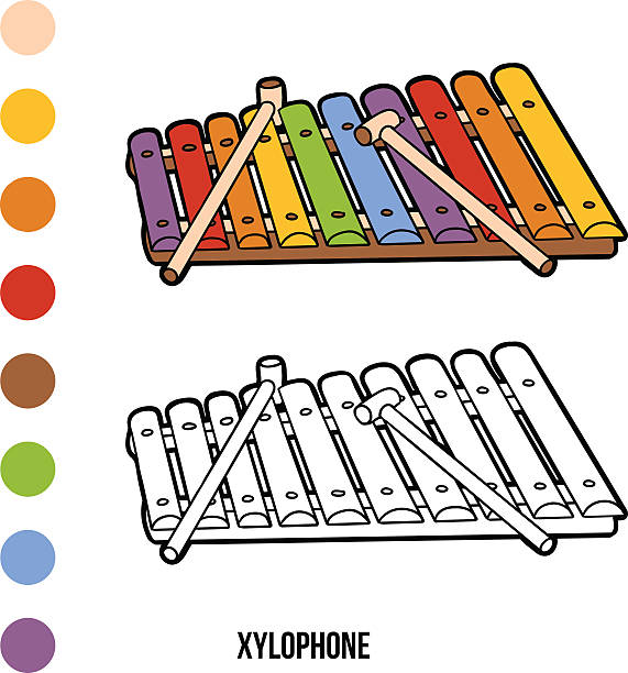 coloring book musical instruments xylophone vector art illustration