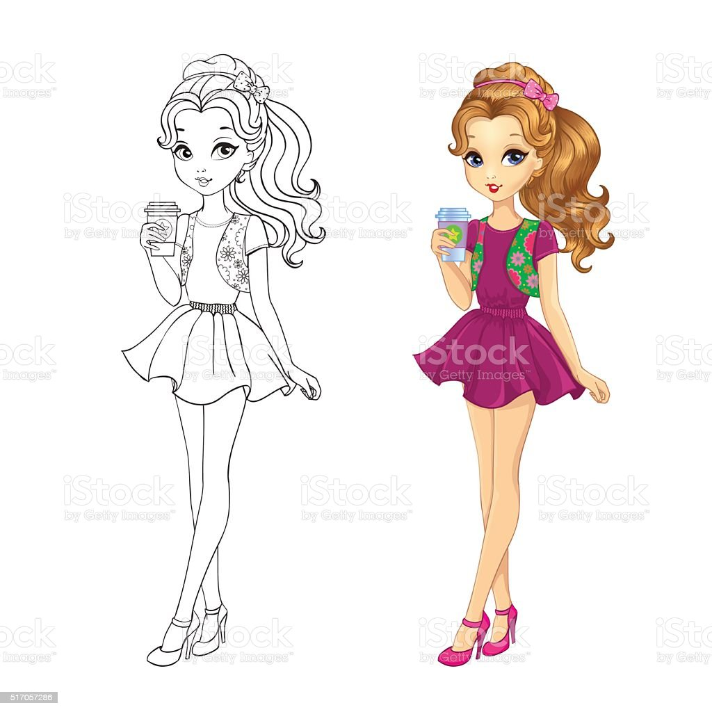 Belle coloriage mode ado fille - Robe barbie adulte ...