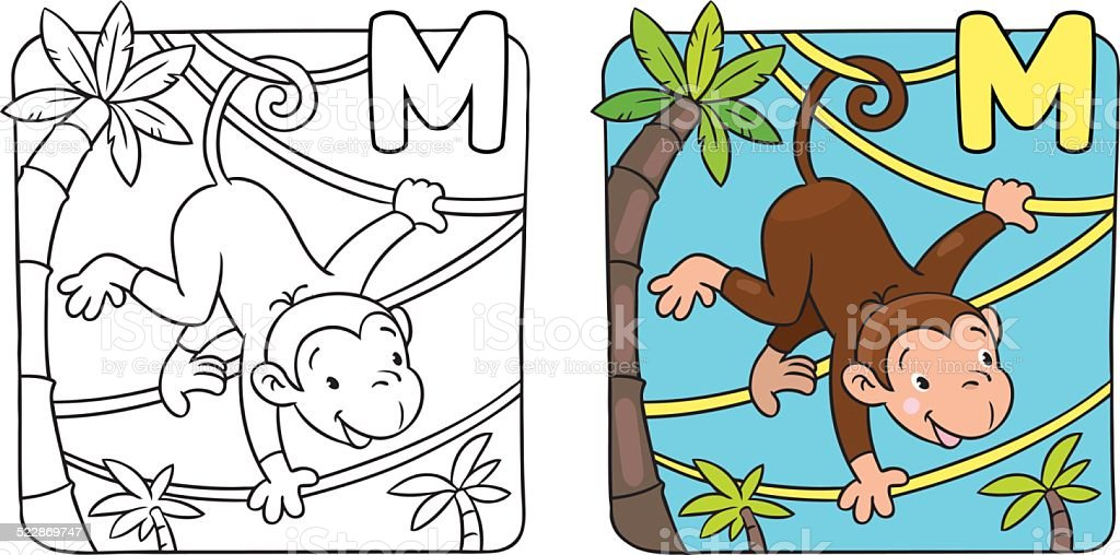 Coloring book of funny monkey on lians. Alphabet M vector art illustration