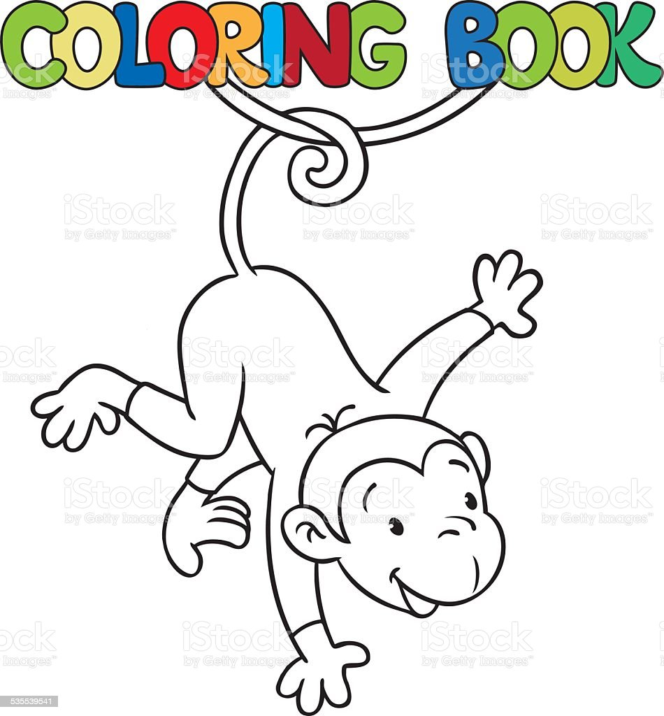 Coloring book of litle funny monkey on lian vector art illustration