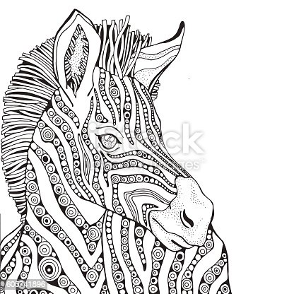 Coloring Book Page For Adult And Children Zebra stock vector art ...