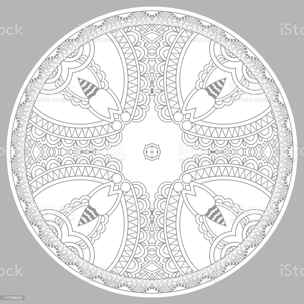 coloring book page for adults - zendala vector art illustration