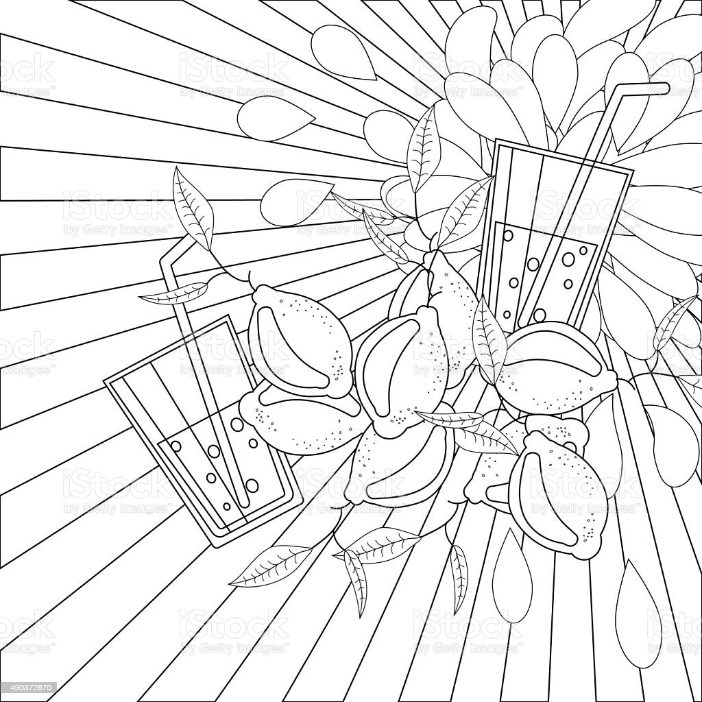 Coloring book page lemons and juice vector art illustration
