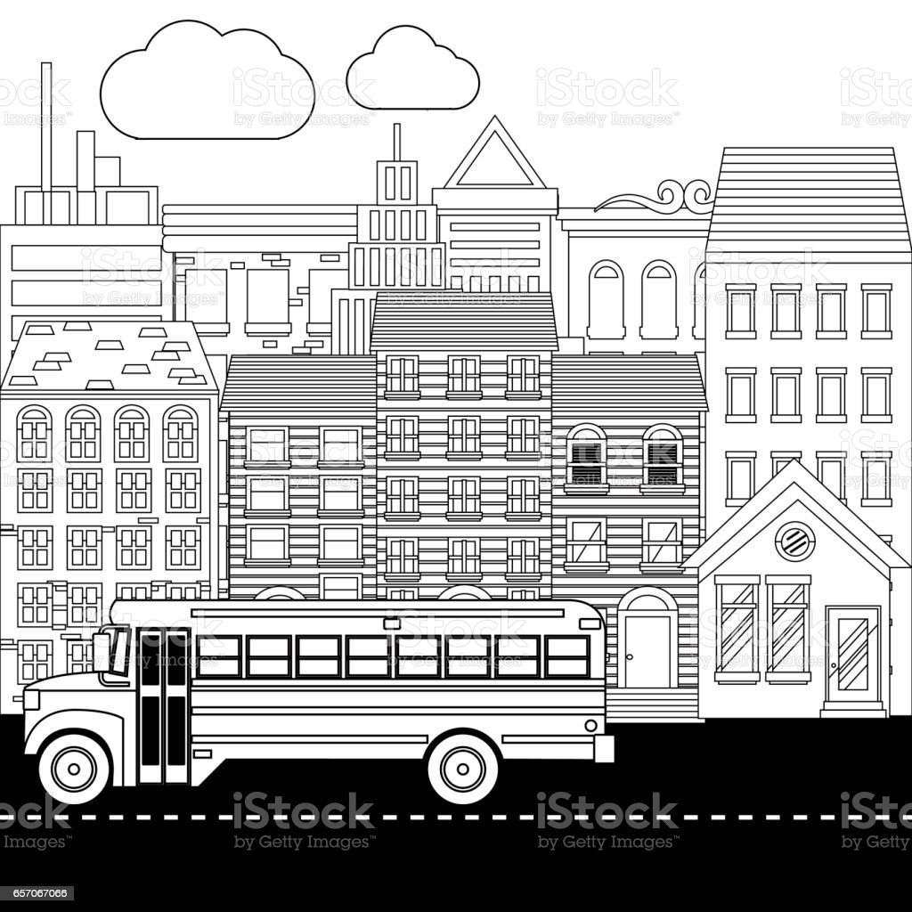 Coloring Book Page School Buses And City Stock Vector Art