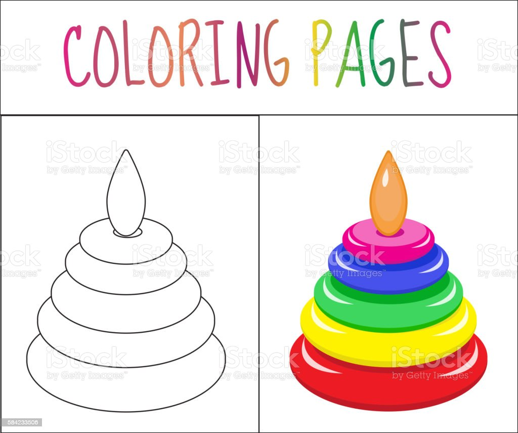 coloring book page toy pyramid sketch and color version stock