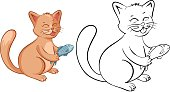Coloring book page with funny cartoon cat with fish.