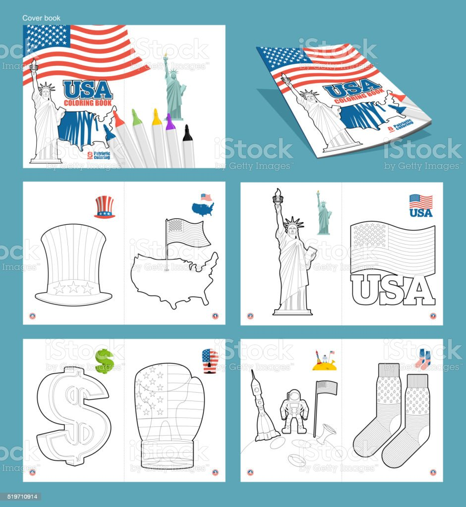 USA coloring book. Patriotic illustrations. National Symbols Ame vector art illustration