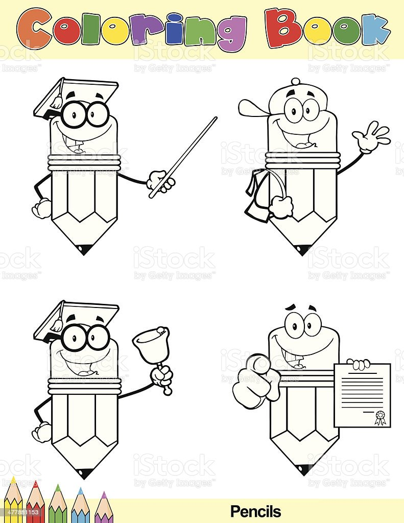 Coloring Book Pencil Cartoon Characters 4 royalty-free stock vector art