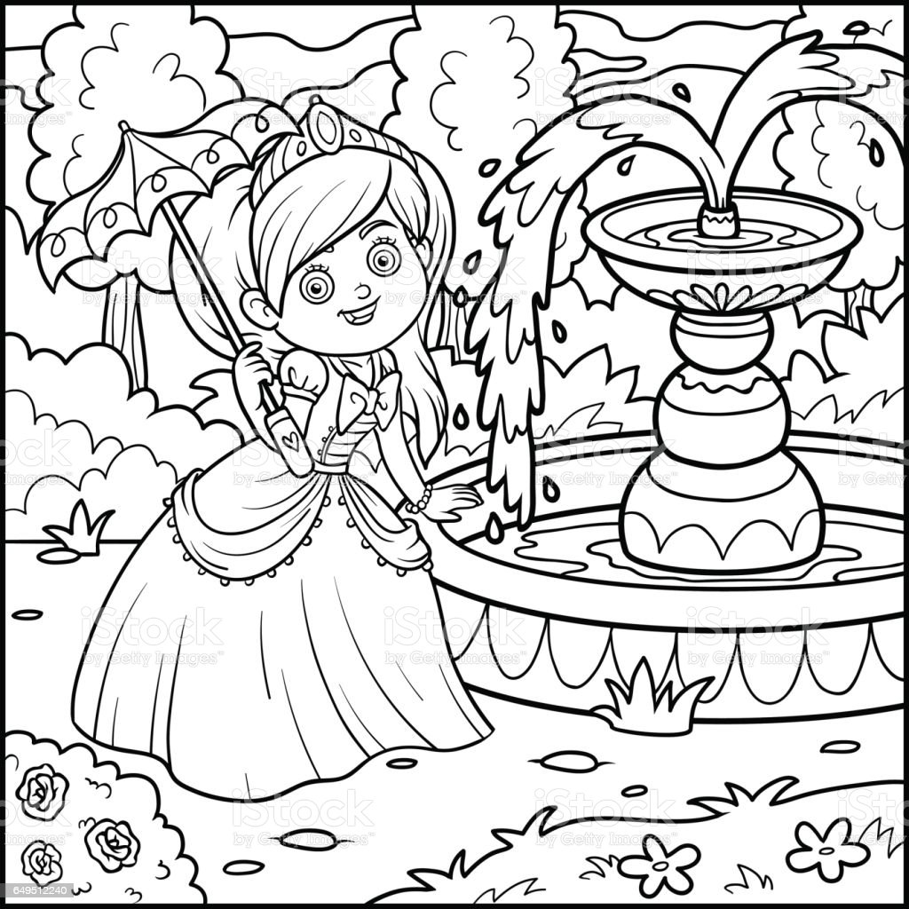 Coloring book princess - Coloring Book Princess With Umbrella Royalty Free Stock Vector Art