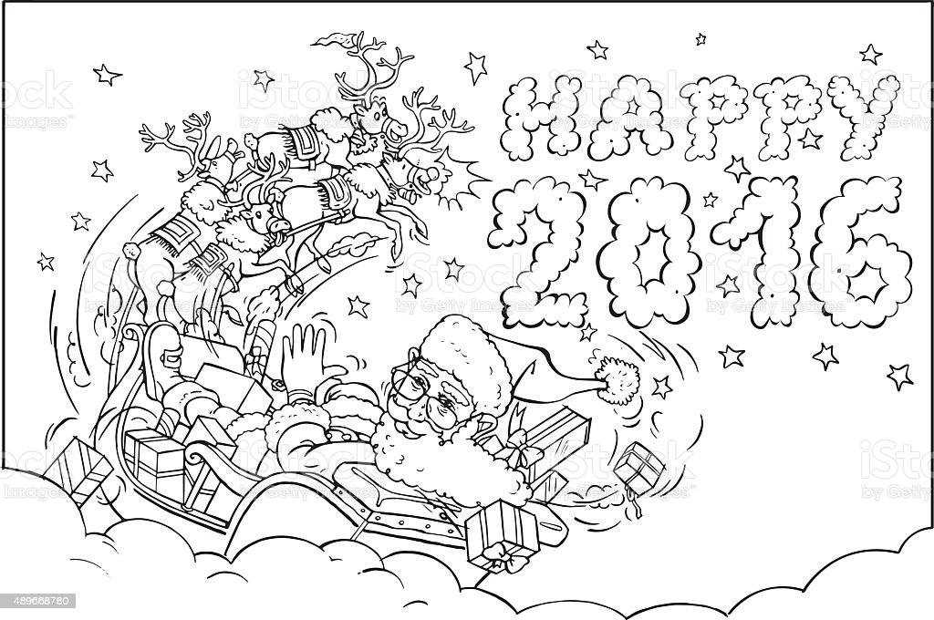 Coloring book Reindeers Flying Santa's Sleigh vector art illustration