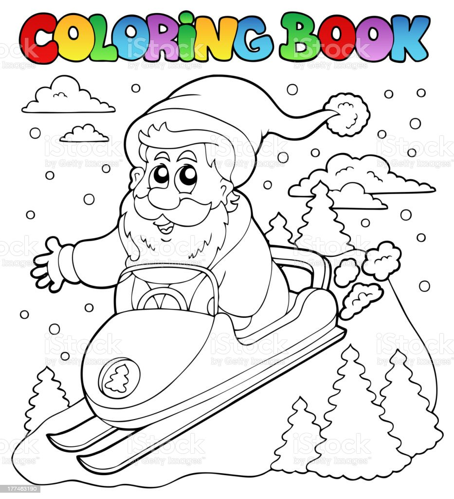 Coloring book Santa Claus topic 4 royalty-free stock vector art