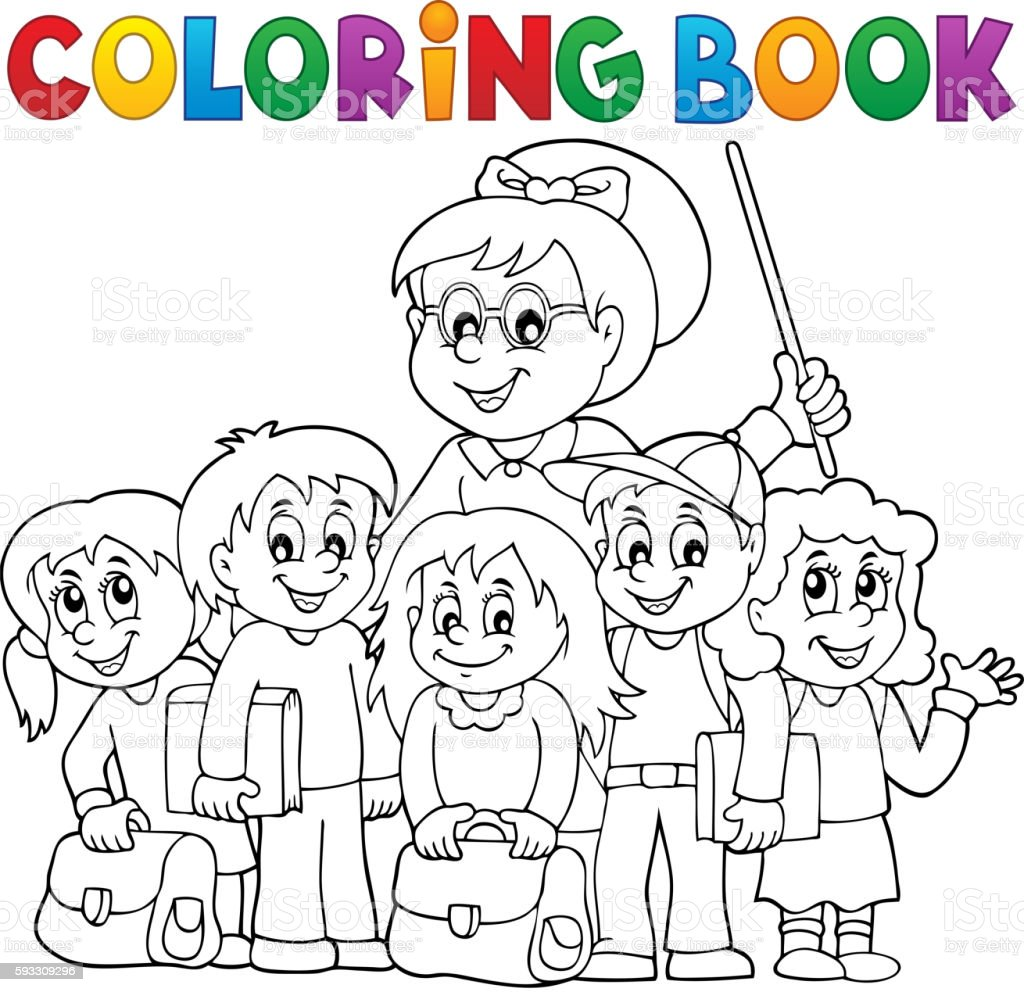 Coloring book school - Coloring Book School Class Theme 1 Royalty Free Stock Vector Art