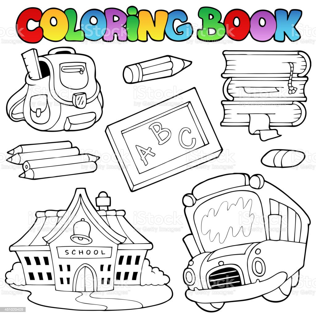 Coloring book school - Coloring Book School Collection 1 Royalty Free Stock Vector Art