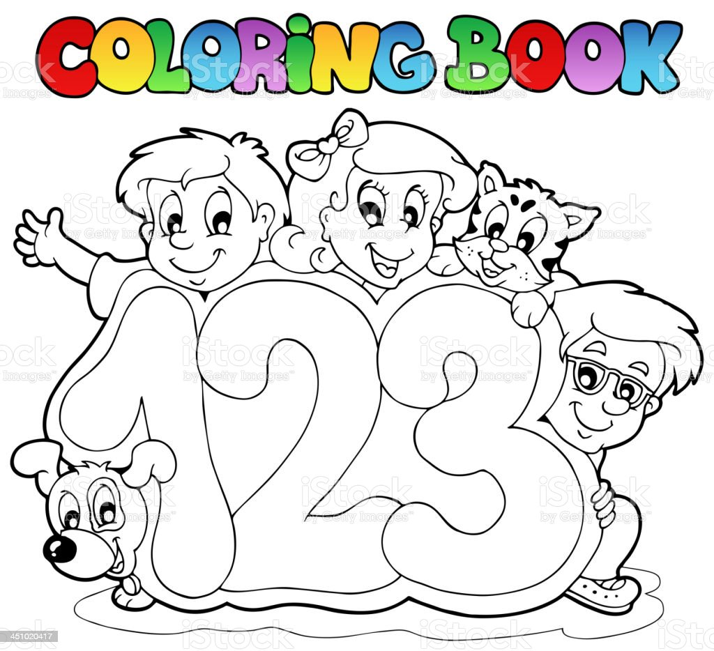 Coloring book school - Coloring Book School Numbers Royalty Free Stock Vector Art