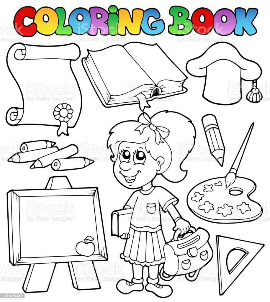 Coloring book school topic 2 royalty-free stock vector art
