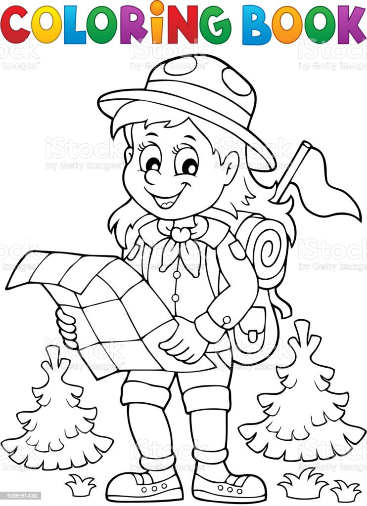 Coloring book scout girl theme 2 vector art illustration