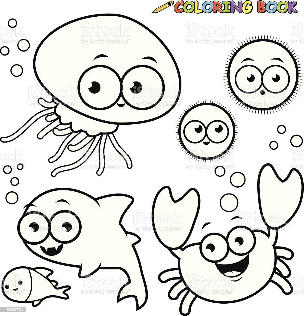 Coloring Book Sea Animals Set Royalty Free Stock Vector Art