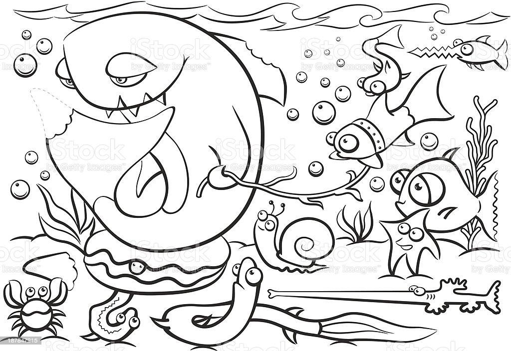 Coloring Book sea Life vector art illustration