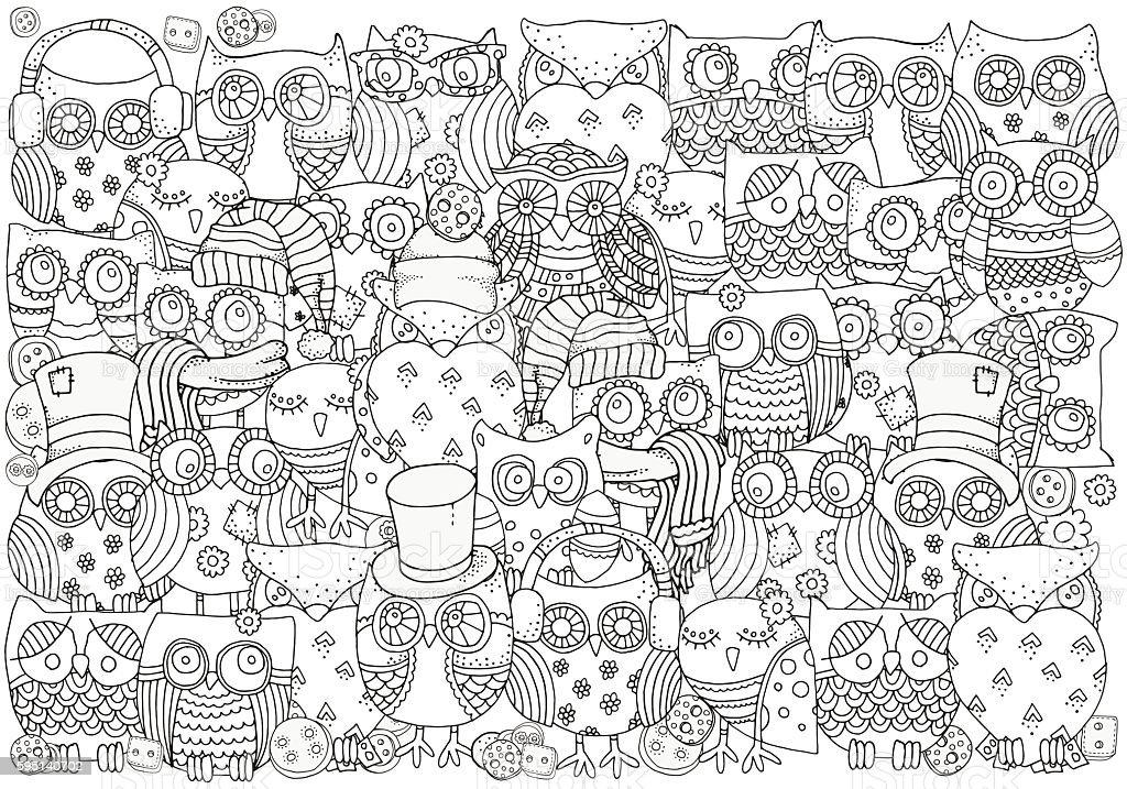 Coloring book set of artistically ornamental sheeps. A4 size vector art illustration