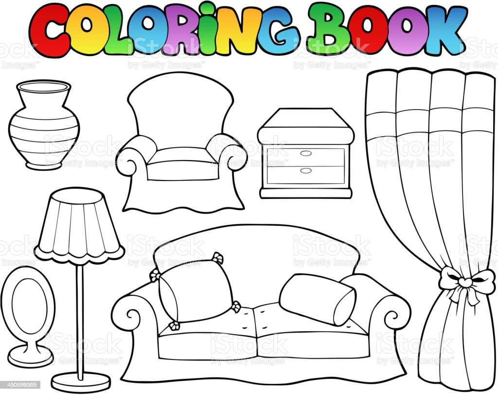 Living Room Coloring Coloring Book Various Furniture 1 Stock Vector Art 450599365 Istock