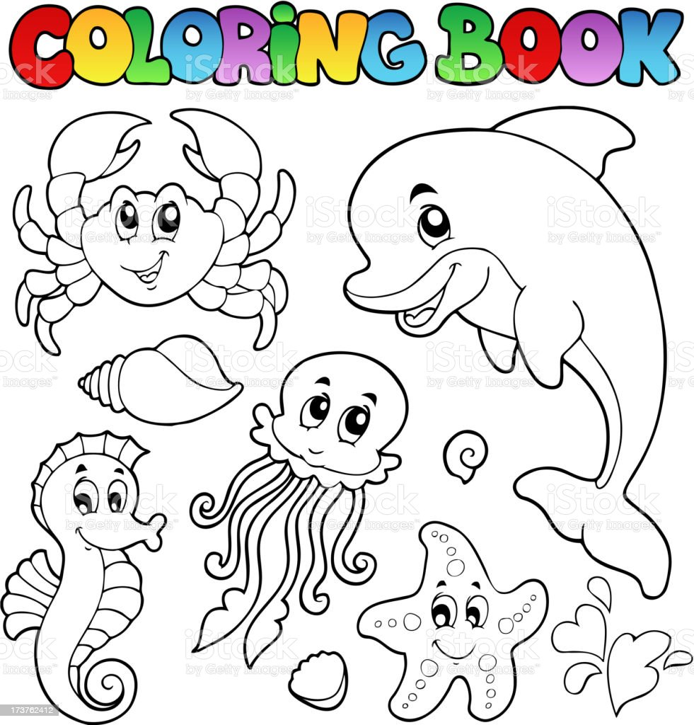 Coloring book various sea animals 2 royalty-free stock vector art