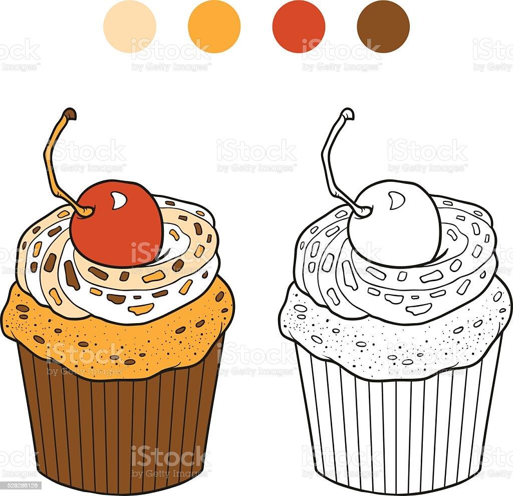 Livre de coloriage vecteur cupcake avec cerise cerisier stock vecteur libres de droits libre de