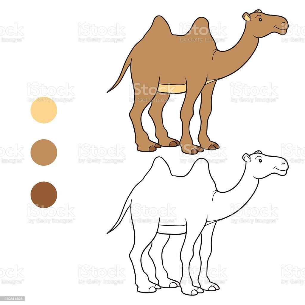 Coloring book (camel) vector art illustration
