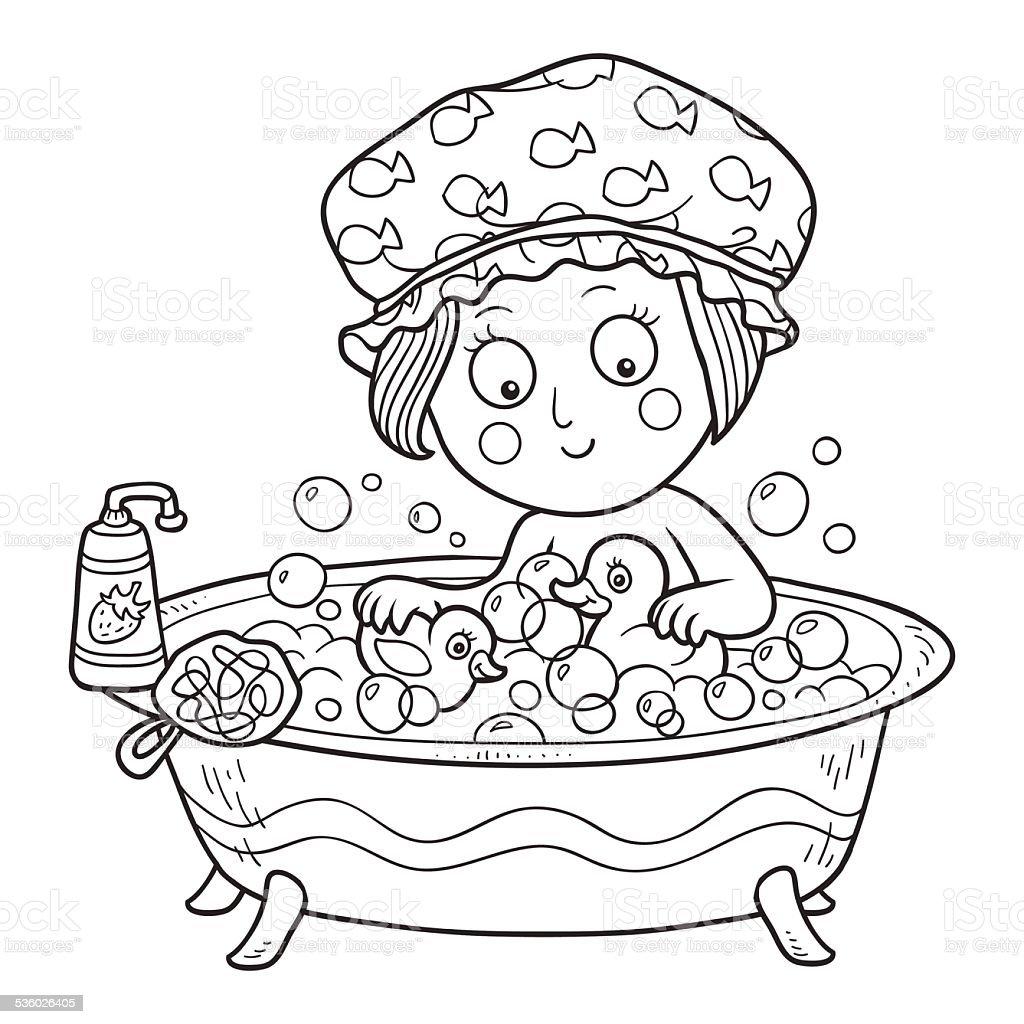 Livre de coloriage petite fille dans la salle de bains stock vecteur libres de