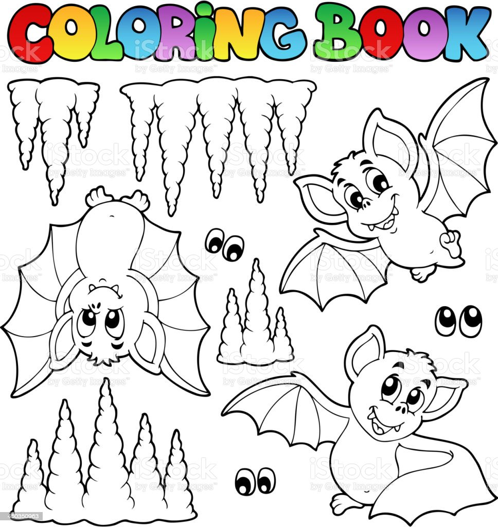 Coloring book with bats royalty-free stock vector art