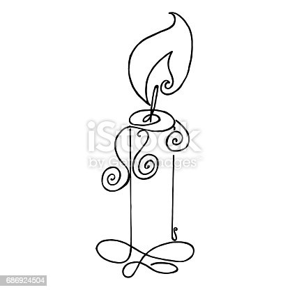Coloring Book With Burning Candle Flame Vector The Outline Of The