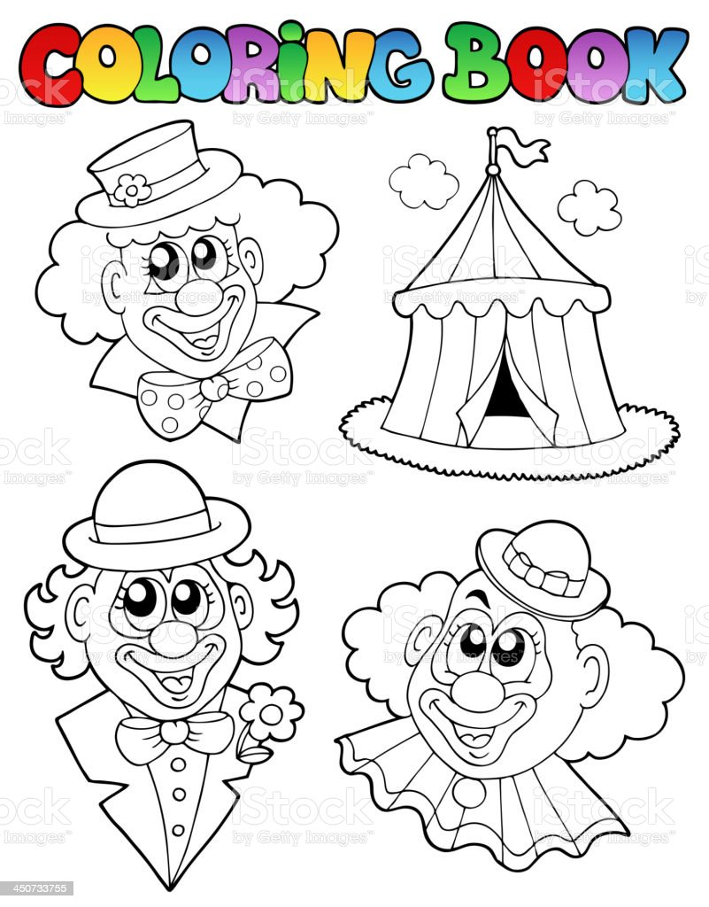 Coloring book with clown images royalty-free stock vector art