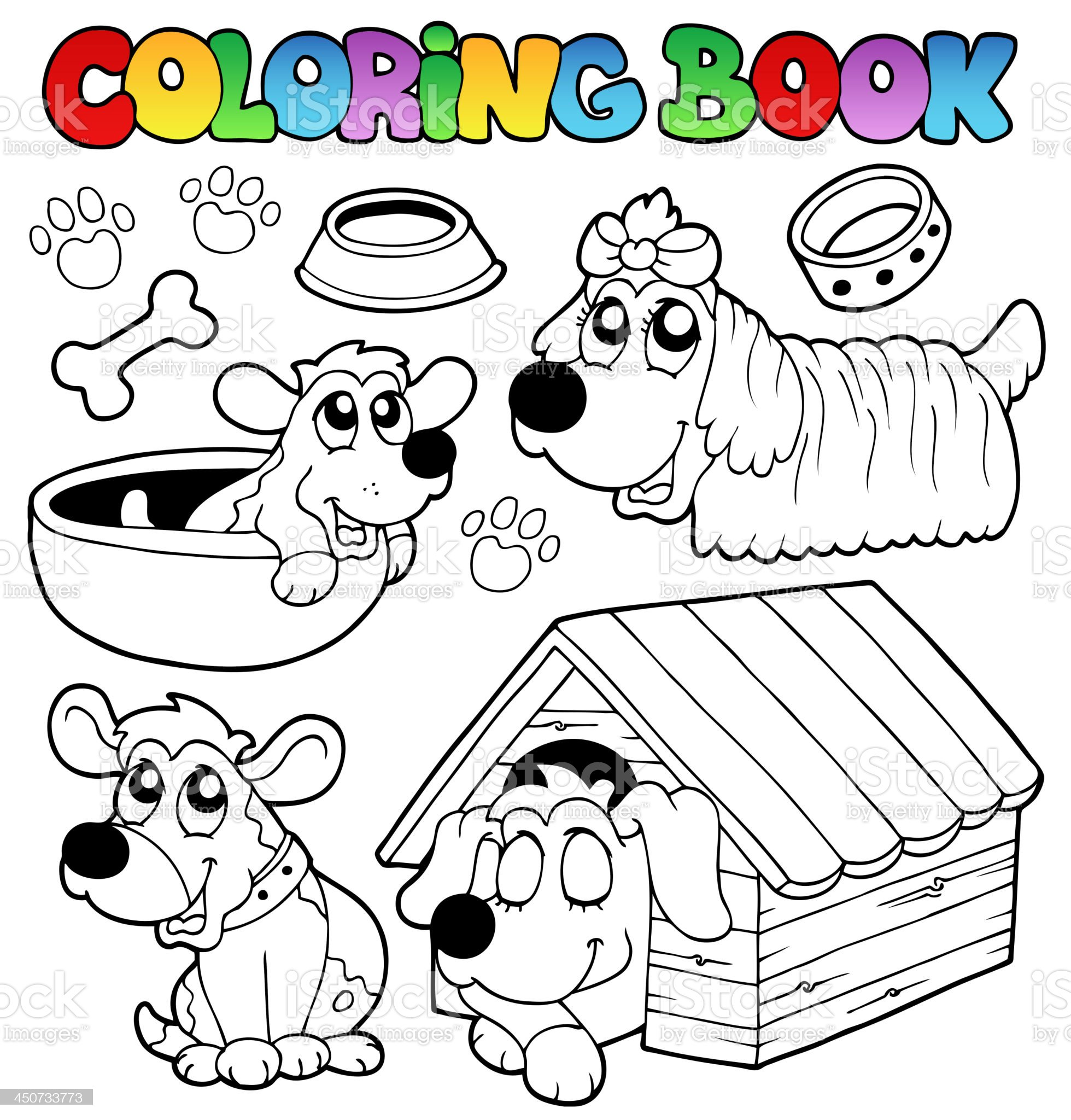 Coloring book with cute dogs royalty-free stock vector art