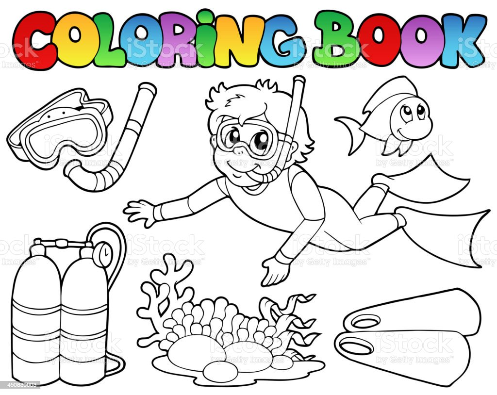 Coloring book with diving theme royalty-free stock vector art