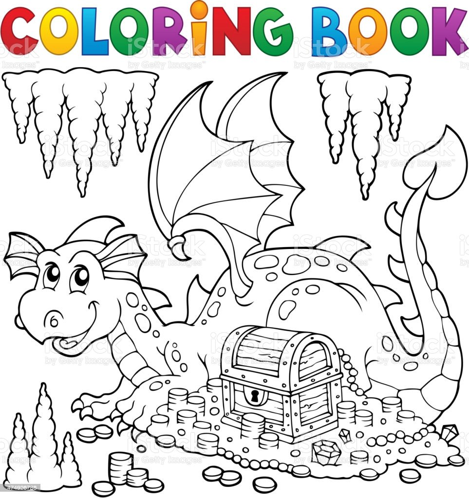 Coloring book with dragon and treasure vector art illustration