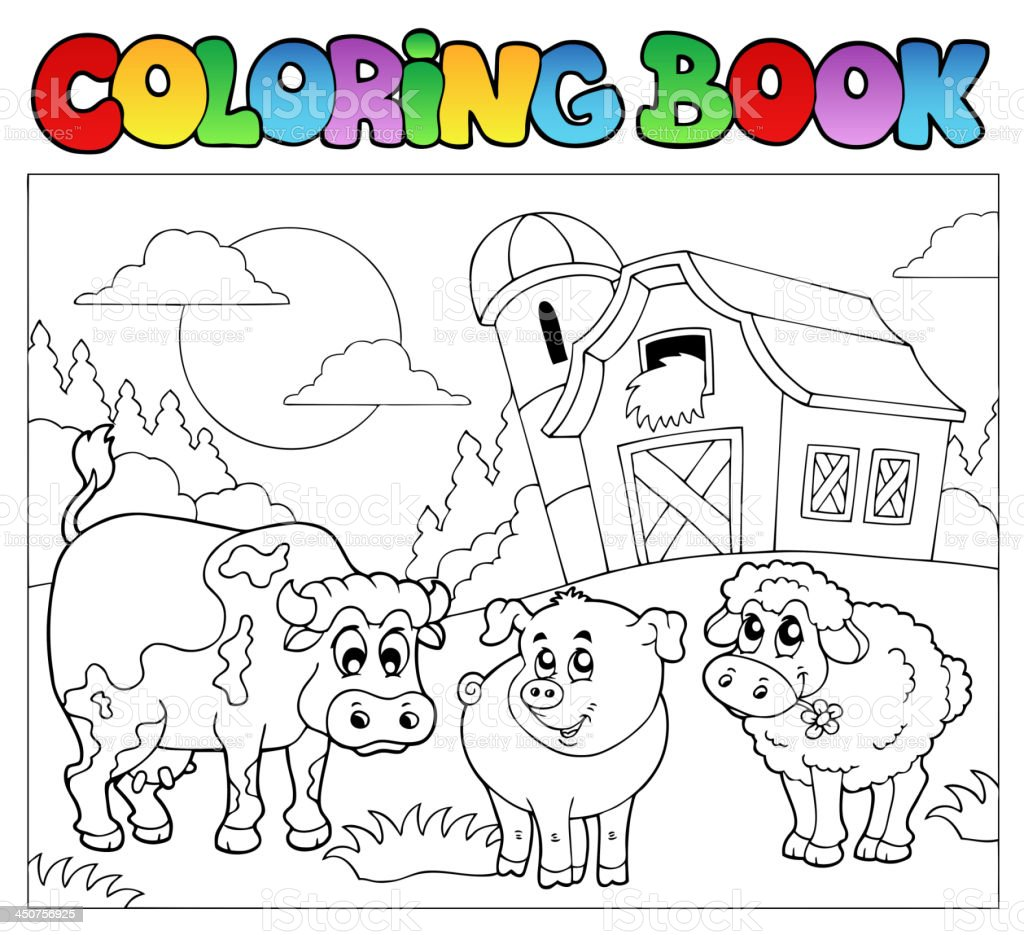 Coloring book with farm animals 3 vector art illustration