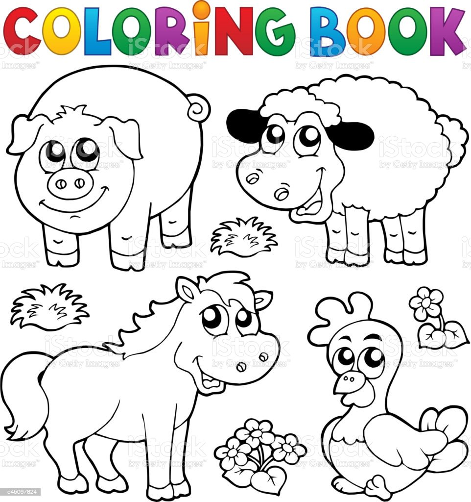 Coloring book with farm animals 5 vector art illustration