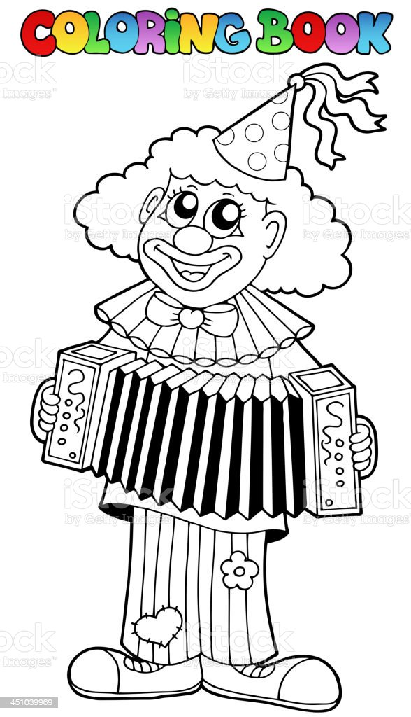 Coloring book with happy clown 1 royalty-free stock vector art