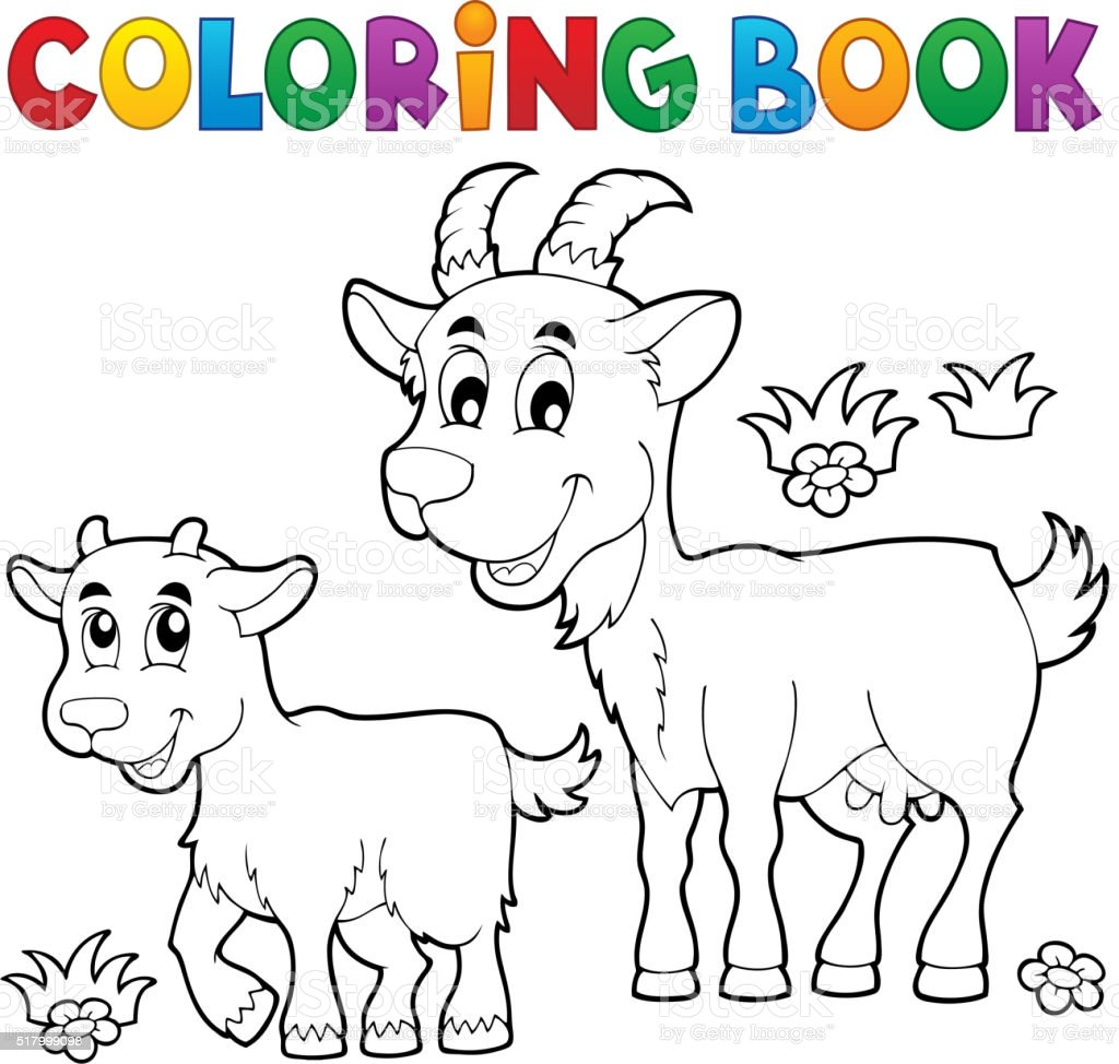 Coloring book with happy goats vector art illustration