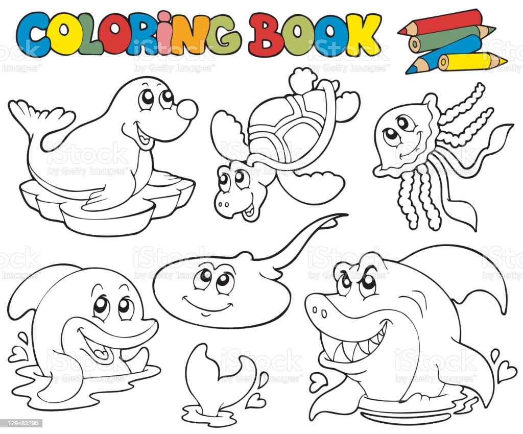 Coloring book with marine animals 1 royalty-free stock vector art